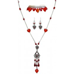 Fashion Jewelry Sets UK, Red Costume Jewellery Set UK, Red Necklace Bracelet Earrings Sets, Red Jewellery Sets, Women Gifts UK