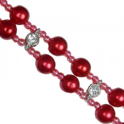 Red Pearls Clear Diamante Double Row Faux Pearl Bracelet
