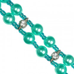 Blue Pearls Clear Diamante Double Row Faux Pearl Bracelet