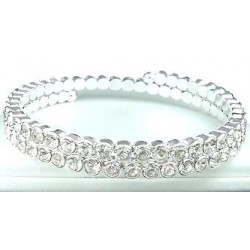 Classic Clear Diamante Open Ended Stretch spiral Coil Bangle, Fashion Costume Jewellery Bracelet