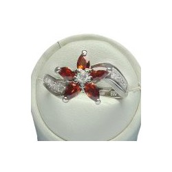 Fashion 925 Sterling Silver Jewellery, Red Teardrop Cubic Zirconia Flower CZ Swirl Crystal Silver Ring