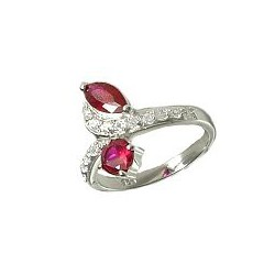 Sterling Silver Jewellery 925 Red & Fuchsia Cubic Zirconia CZ Crystal Silver Crossover Ring