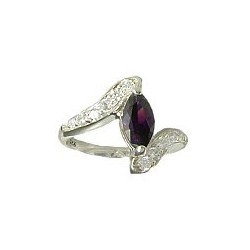 Fashion Sterling Silver 925 Costume Jewellery, Amethyst Cubic Zirconia Teardrop CZ Crystal Silver Crossover Ring