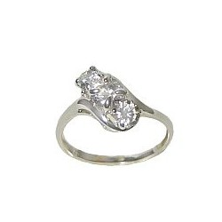 Clear Cubic Zirconia Silver Twist CZ Crystal Trilogy Ring