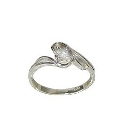 Sterling Silver 925 Fashion Jewellery, Clear Cubic Zirconia Silver Twist CZ Crystal Solitaire Ring
