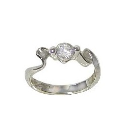 Sterling Silver 925 Fashion Jewellery, Clear Cubic Zirconia Silver Wave CZ Crystal Solitaire Ring