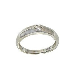 Fashion Sterling Silver 925 Costume Jewellery, Clear Cubic Zirconia CZ Hexagon Silver Band Ring