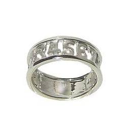 Chic Fashion 925 Costume Jewellery Stack Ring, Sterling Silver Numbers Band Ring