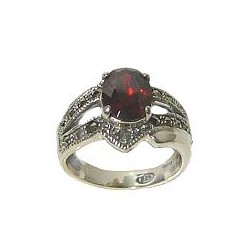Fashion 925 Sterling Silver Jewellery, Solitaire Red Oval Cubic Zirconia CZ Crystal Marcasite Silver Ring