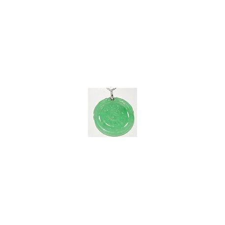 Unisex, Man Women Fashion 925 Costume Jewellery, Green Jade Circle Octagon Pendant & Sterling Silver Chain Necklace