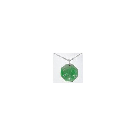 Unisex Man Women Fashion 925 Jewellery, Green Jade Octagon Pendant & Sterling Silver Chain Necklace