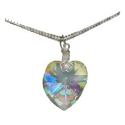 Fashion Women Costume Jewellery, Clear AB Crystal Heart Pendant & Sterling Silver 925 Chain Necklace