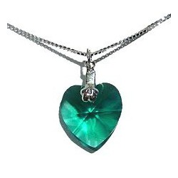 Fashion Women Costume Jewellery, Green Crystal Heart Pendant & 925 Sterling Silver Chain Necklace
