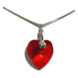 Fashion Women Gift, Chic Costume Jewellery, Red Crystal Heart Pendant & 925 Sterling Silver Chain Necklace