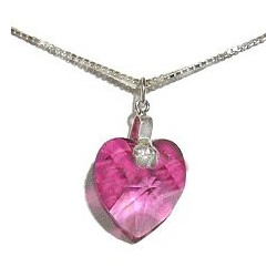 Pink Crystal Heart Pendant & Sterling Silver Chain Necklace