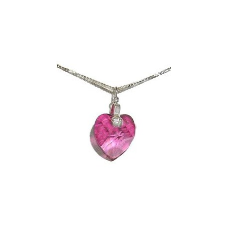 Fashion Girls Costume Jewellery, Pink Crystal Heart Pendant & Sterling Silver Chain Necklace