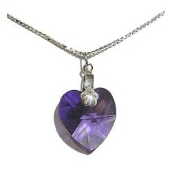 Fashion Women Costume Jewellery, Purple Crystal Heart Pendant & 925 Sterling Silver Chain Necklace