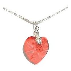 Peach Red Crystal Heart Pendant & Sterling Silver Chain Necklace