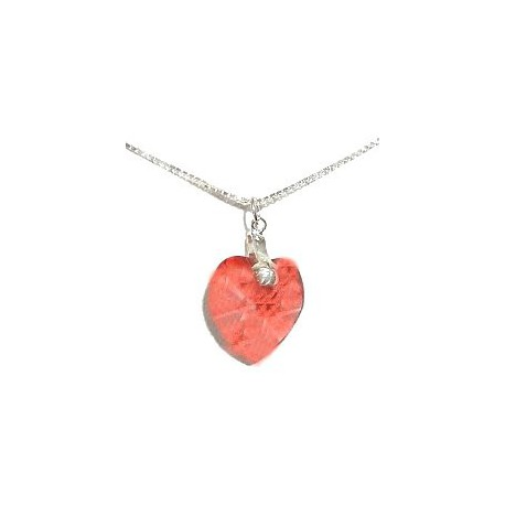 Fashiio Women Costume Jewellery, Peach Red Crystal Heart Pendant & Sterling Silver 925 Chain Necklace