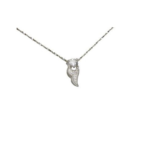 Clear Cubic Zirconis CZ Silver Fire Flame Pendant & Sterling Silver Chain Necklace