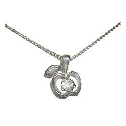 Cute Clear Cubic Zirconia CZ Silver Apple Pendant & Sterling Silver Chain Necklace