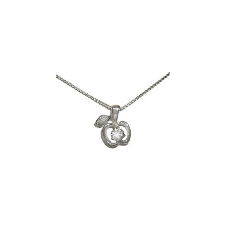 Buy cubic zirconia sterling silver apple cz pendant 925 chain necklace girls costume jewellery cute clear cubic zirconia cz silver apple pendant 925 sterling silver mozeypictures Image collections