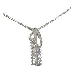 Clear Cubic Zirconia Silver Arrow CZ Charm Pendant & Sterling Silver Chain Necklace