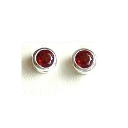 Fashion Women 925 Costume Jewellery, Red Stone Round Silver Rubover Stud Earrings