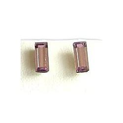 Fashion Women 925 Costume Jewellery, Smokey Purple Cubic Zirconia Rectangle Crystal CZ Silver Stud Earrings