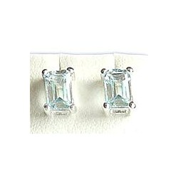 Light Blue Cubic Zirconia Rectangle Crystal CZ Silver Stud Earrings