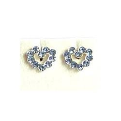 Fashion Women 925 Costume Jewellery, Blue Austrian Crystal Silver Open Heart Stud Earrings