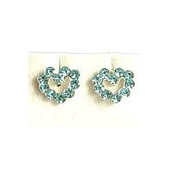 Light Blue Austrian Crystal Silver Open Heart Stud Earrings