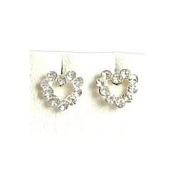 Fashion Women 925 Costume Jewellery, Clear Austrian Crystal Silver Open Heart Stud Earrings