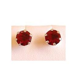 Dark Red Austrian Crystal 5mm Silver Stud Earrings