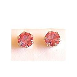 Fashion Women Girls Costume Jewellery, Pink Austrian Crystal 5mm 925 Sterling Silver Stud Earrings