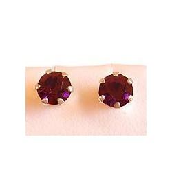 Fashion Women Costume Jewellery, Purple Austrian Crystal 5mm 925 Sterling Silver Stud Earrings