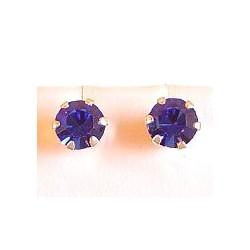 Fashion Women Costume Jewellery, Royal Blue Austrian Crystal 5mm 925 Sterling Silver Stud Earrings