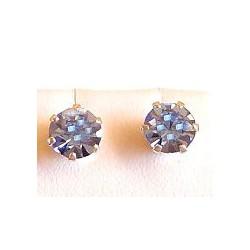 Fashion Women Costume Jewellery, Blue Austrian Crystal 5mm 925 Sterling Silver Stud Earrings