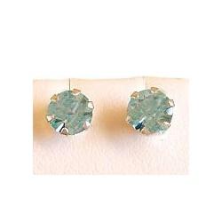 Fashion Women Costume Jewellery, Light Blue Austrian Crystal 5mm 925 Sterling Silver Stud Earrings