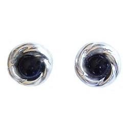Fashion Women Costume Jewellery, Black Swirl Sterling Silver 925 Stud Earrings