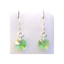Fashion Woment Costume Jewellery, Lime Green Crystal Heart 925 Sterling Silver Hook Drop Earrings