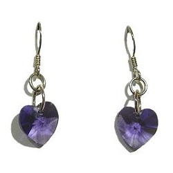 Fashion Women Costume Jewellery, Purple Crystal Heart 925 Sterling Silver Hook Drop Earrings