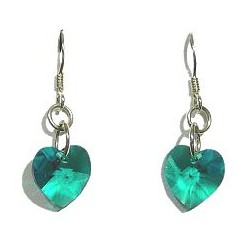 Fashion Women Costume Jewellery, Green Crystal Heart Sterling Silver 925 Hook Drop Earrings