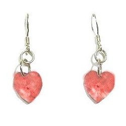 Fashion Women Costume Jewellery, Peach Red Crystal Heart Sterling Silver 925 Hook Drop Earrings