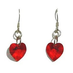 Fashion Women Costume Jewellery, Red Crystal Heart Sterling Silver 925 Hook Drop Earrings