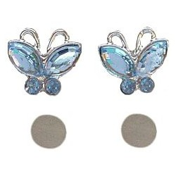 Blue Diamante Butterfly Stud Magnetic Clip On Earrings