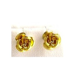 Fashion Women Costume Jewellery, Non-pierced Earring Studs, Gold Metal Rose Stud Magnetic Clip On Earrings
