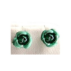 Fashion Women Costume Jewellery, Non-pierced Earring Studs, Green Metal Rose Stud Magnetic Clip On Earrings