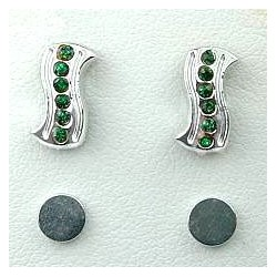 Fashion Women Costume Jewellery, Non-pierced Earring Studs, Green Diamante Rectangle Wave Stud Magnetic Clip On Earrings