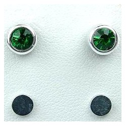 Fashion Unisex, Man, Boys, Women Costume Jewellery, Non-pierced Earring Studs, Green 5mm Diamante Rub Over Stud Magnetic Clip On